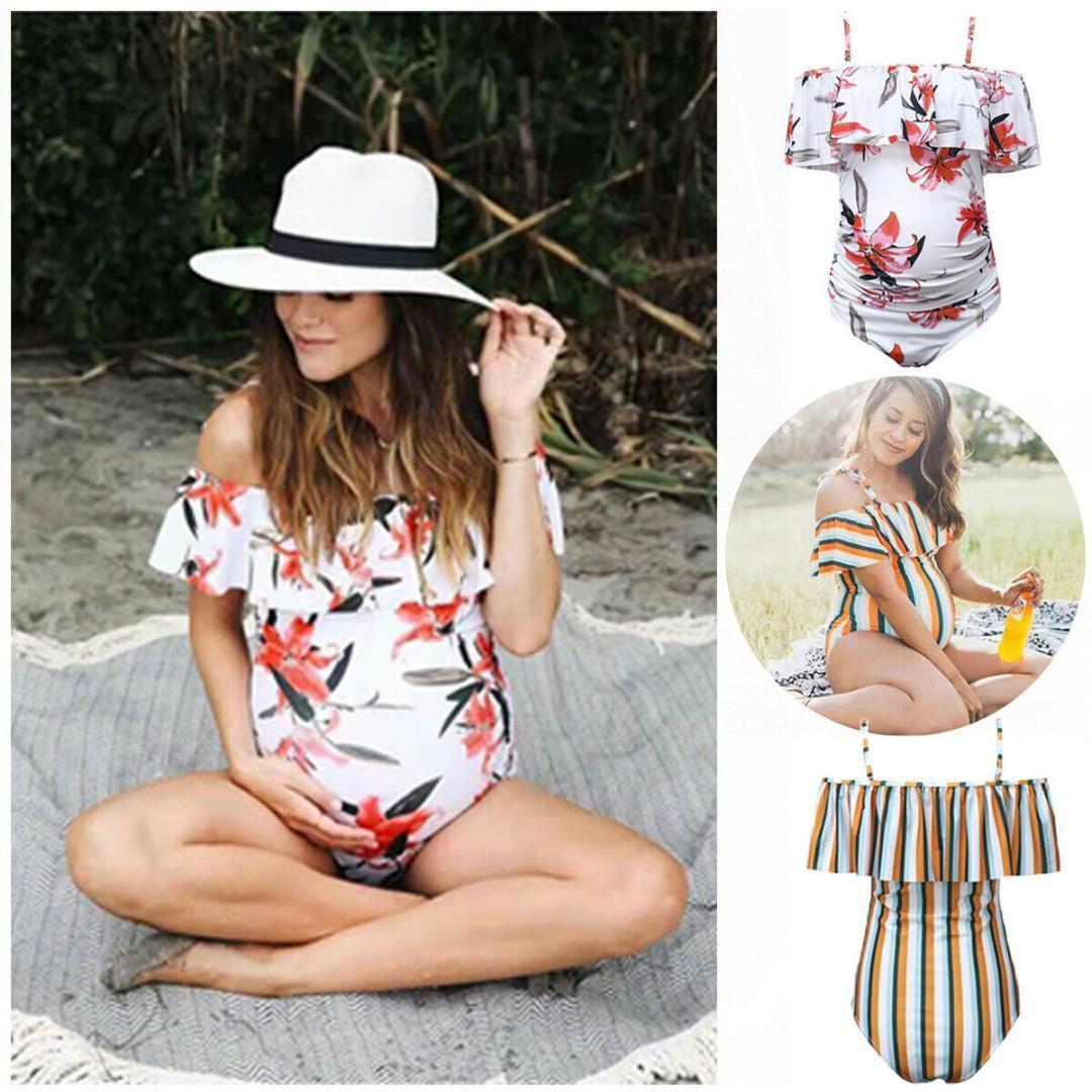 5eb10e6efab75 2019 Women Maternity Swimwear Plus Size Summer Tankinis Pregnancy Ruffled  Bikini Monokini Swimsuit Bathing Pregnant Suit 3XL From Cbaoyu, $30.31 |  DHgate.