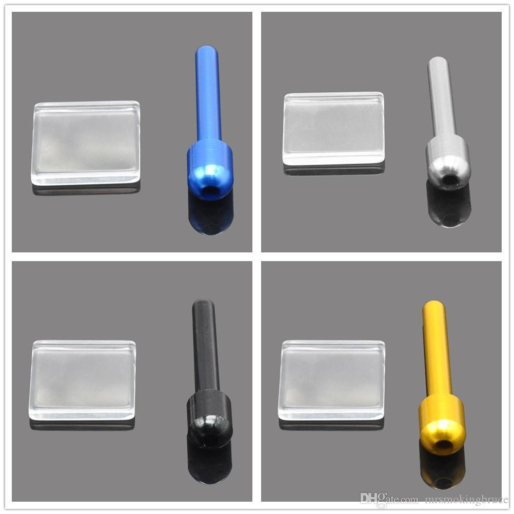 New Snuff Set Glass Snuff Snorter Mat+70MM Aluminum Snuff Straw Nasal  Dispenser Sniffer Snorter Rocket Tube Metal Smoking Pipes Accessories