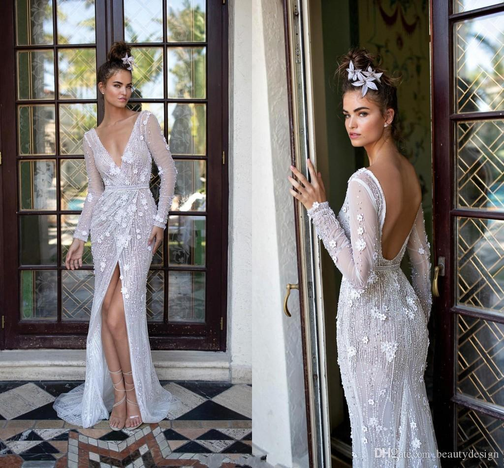 e108936adaf Sexy Plunging Deep V Neck Long Sleeve Mermaid Wedding Dresses 3D Flowers  Open Back Front Split Bridal Gown Beach Wedding BC0964 Dress For Wedding  Maternity ...