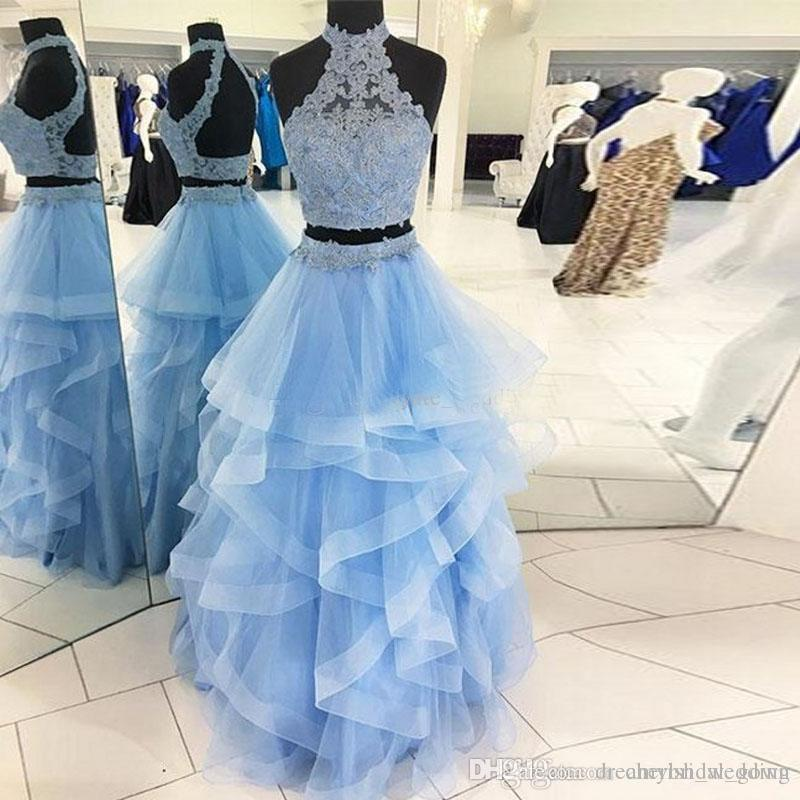 4a4374b7148 Light Sky Blue Two Piece Prom Dresses High Neck Lace Tulle Tiered Tulle  Ball Gown Quinceanera Dresses Backless Champagne Sweet 16 Gown Ugly Prom  Dresses ...