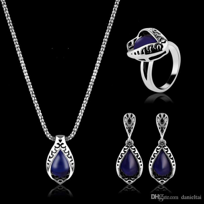 Necklaces Earrings Rings Jewelry Set Vitnage Luxury Antique Silver Plated Water Drop Style 3-Piece Set Wedding Jewelry Wholesale JS326