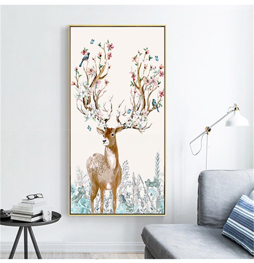 Custom Mural 3D Wallpaper Nordic Modern Fantasy Forest Elk Flower And Bird Indoor Porch Background Wall Decoration Mural Wallpaper