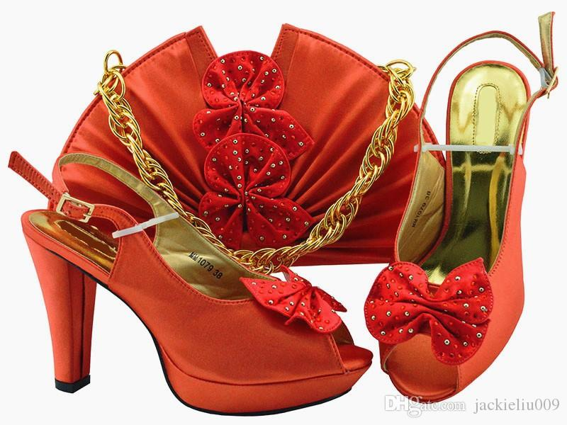 Gorgeous Coral Women Pumps And Bag Set With Butterfly Design African Shoes  Match Handbag For Dress MM1079 3acdad9da841