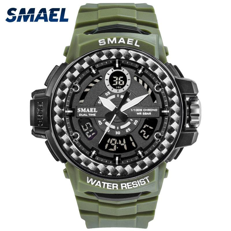 Sport Watches Big Dial Quartz Digital Waterproof Men Wristwatches Male Clocks Men's Watch SMAEL Reloj Hombre
