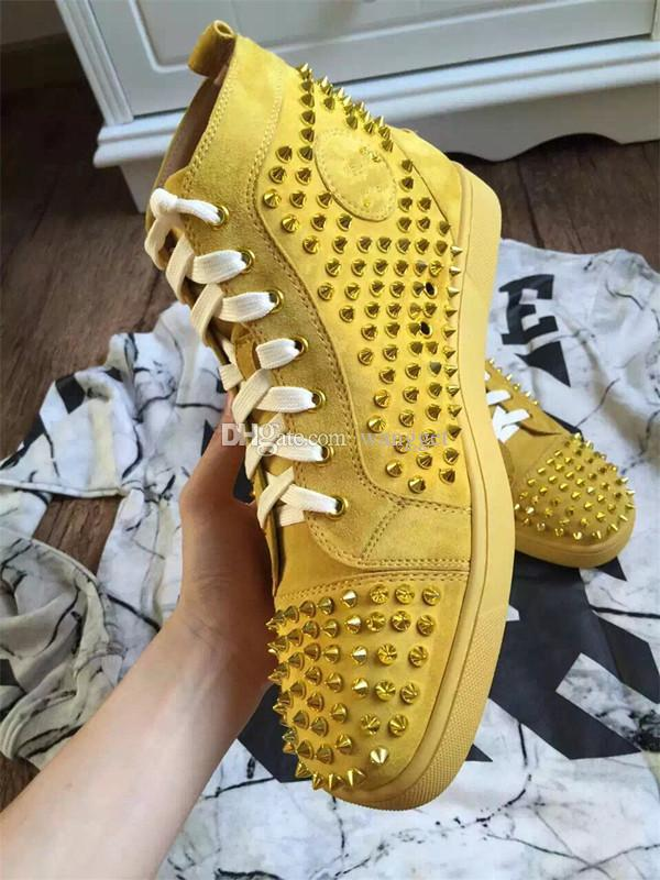 New Rantus Yellow Suede Red Bottom Men High Sneakers, Junior Orlato PIK PIK Studs Mix Spikes al aire libre Pisos ocasionales al por mayor