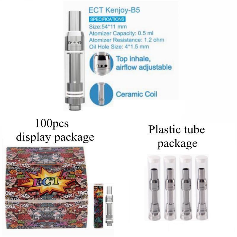 Empty Vape Pen Cartridges ECT Kenjoy Electronic B1 B1S B5 Pyrex Glass 510  Thread Ceramic Coil Atomizer Vape Tank Top Refilling Pens