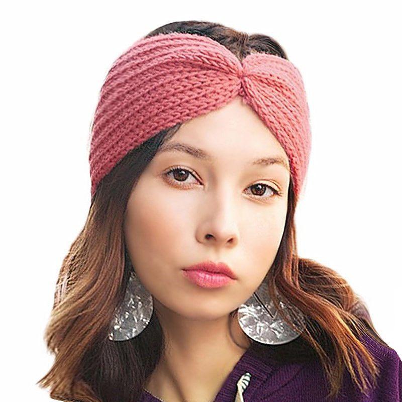 751d14cf791 Winter Ear Warmer Knitted Turban Headband for Women Crochet Wool ...