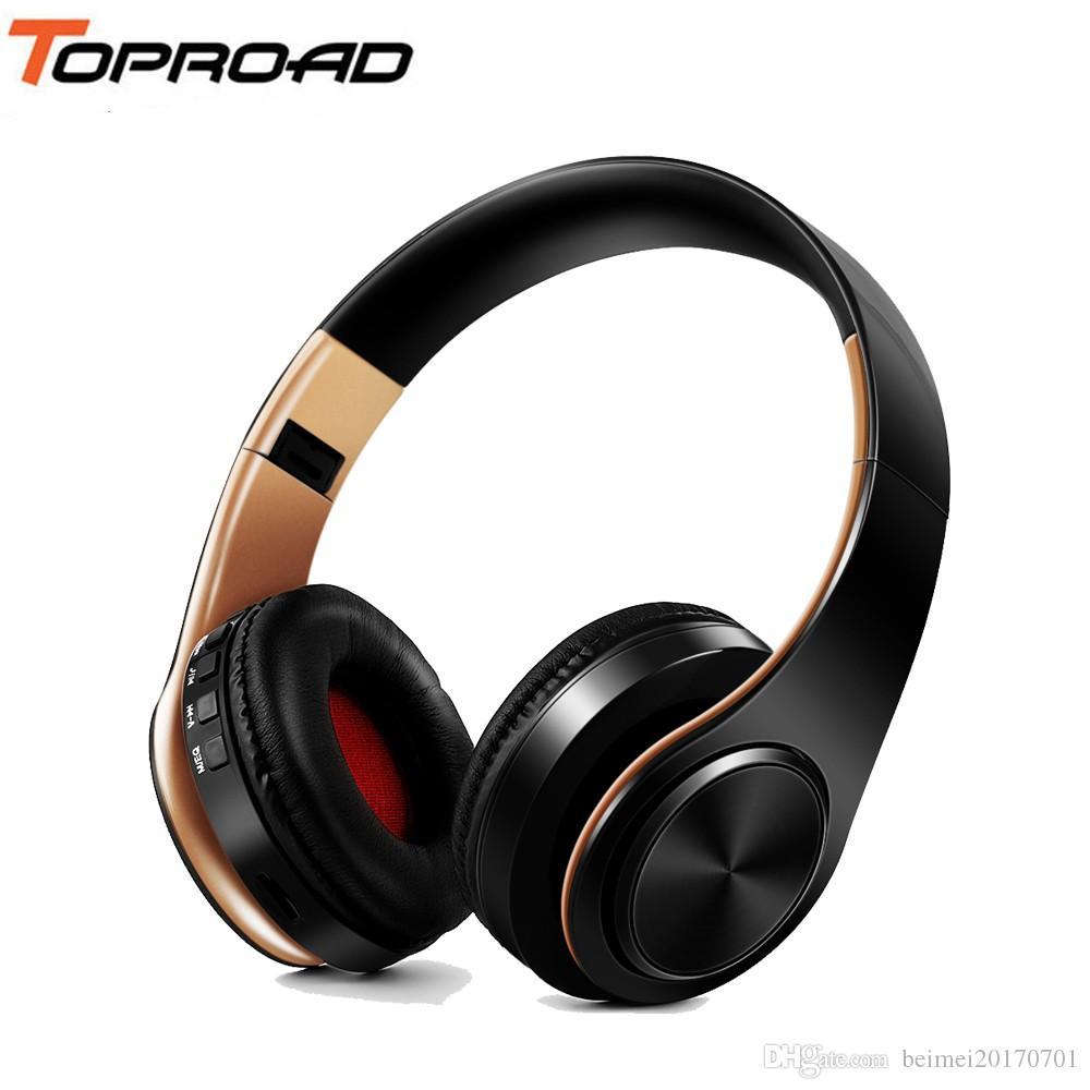 cce7696a6b4 Compre TOPROAD Auriculares Inalámbricos Bluetooth Auriculares Estéreo  Plegables Música Auricular Con Micrófono Soporte TF Tarjeta FM Radio AUX A  $20.88 Del ...