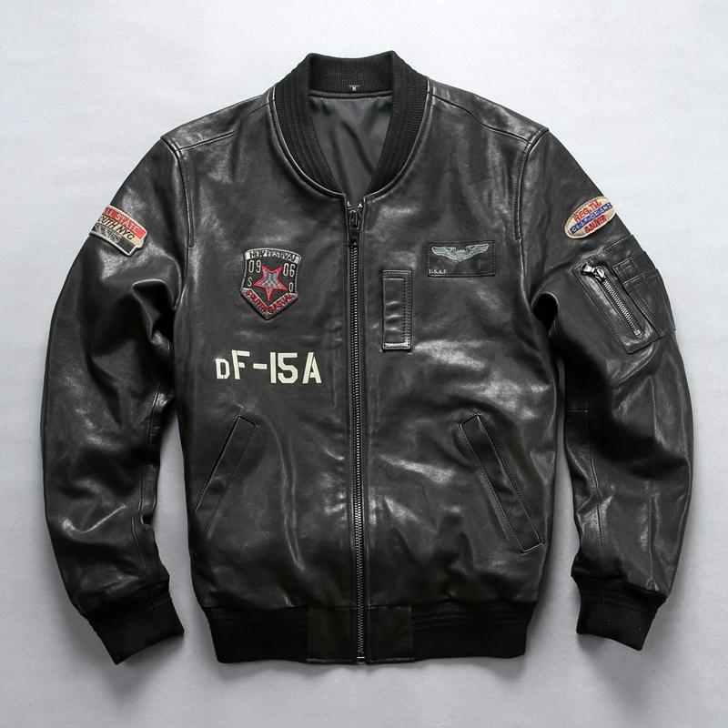 low priced 059c2 4d1cd 2019 männer Echtes Leder Fliegerjacke Marke Vintage Klassische MA1 Baseball  Schwarze Jacke für Männer Große Größe Mantel