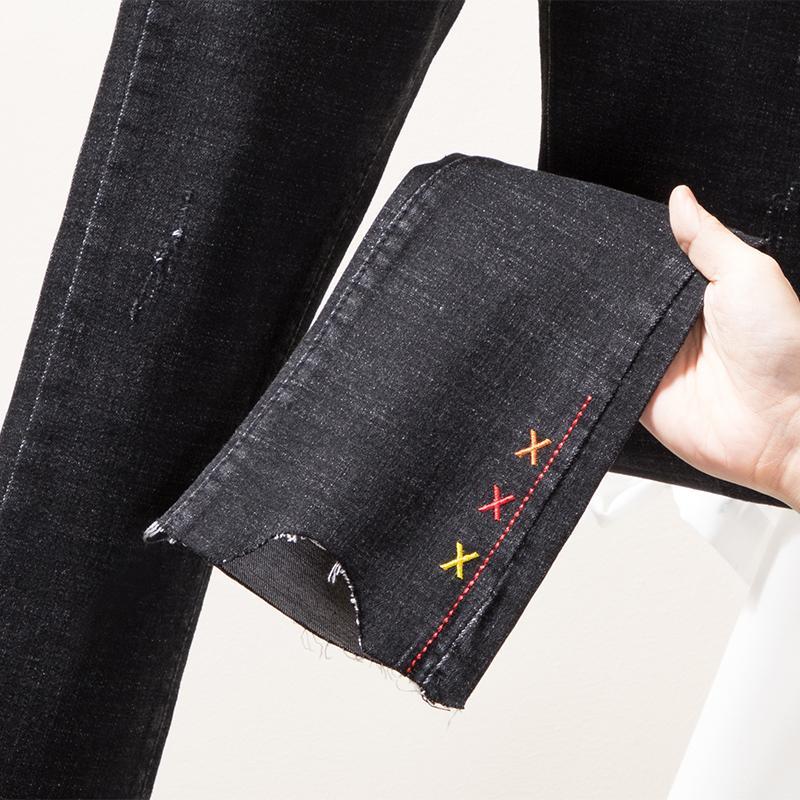 94e99b6a43426 Acheter 4xl Plus Grande Taille Jeans Culotte Femme Printemps Hiver Automne  2019 Feminina Nouvel Élastique Taille Haute Noir Pantalon En Denim Femme  F0358 De ...