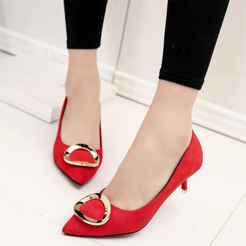 29d22b33faa Plus Size Women Dress Shoes Low Heels OL Office Lady Shoes Pointed Toe Boat  Shoes Faux Suede Thin Heeled Ladies 67H92