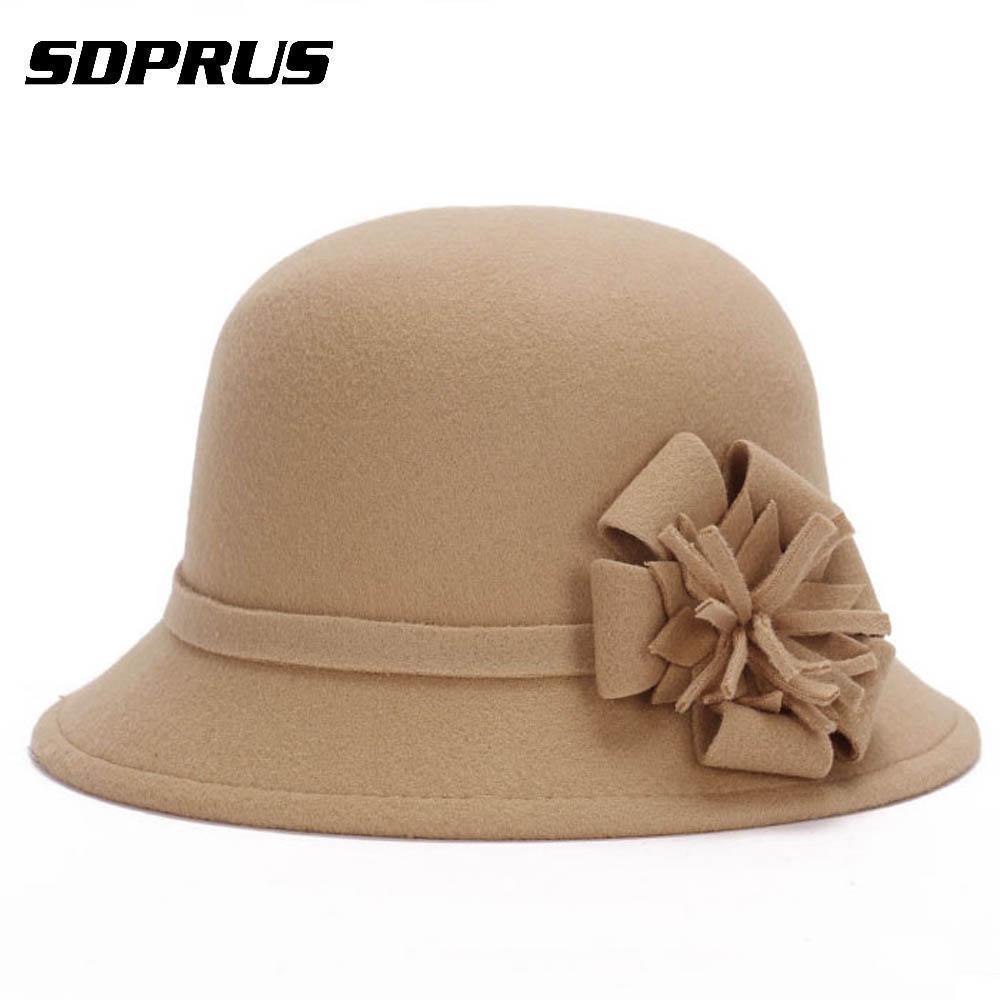 f5deaa002058e Women Bucket Cap Vintage Elegant Imitation Round Cap Wool Flower Felt Hat  Winter Warm Wide Brim Cloche Bucket Cap D19011103 Floppy Hat Kangol Hats  From ...