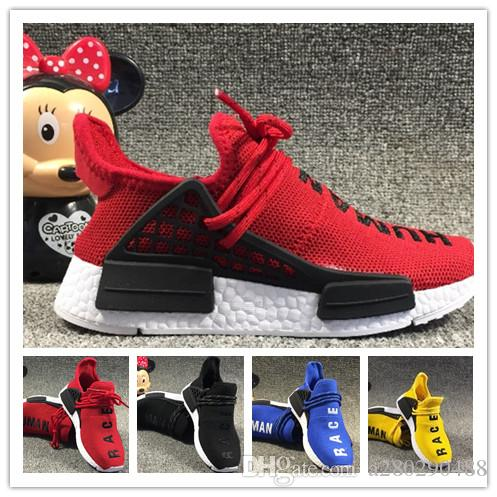 ff97db5ed Pharrell Williams Infant Human Race Kids Running Shoes Yellow Toddlers  Athletic SPORT Trainers Children Boys Girls Sneakers Core Black Whit Running  Spikes ...