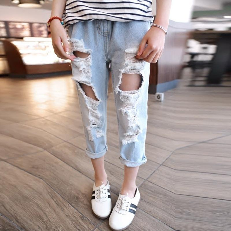 48ab7b6a3de Brand Boys Girls Ripped Jeans Fashion Children Broken Hole Pants Summer  Casual Denim Trousers Jeans For Kids 2 3 4 5 6 Years Old Stretch Jeans For  Girls ...