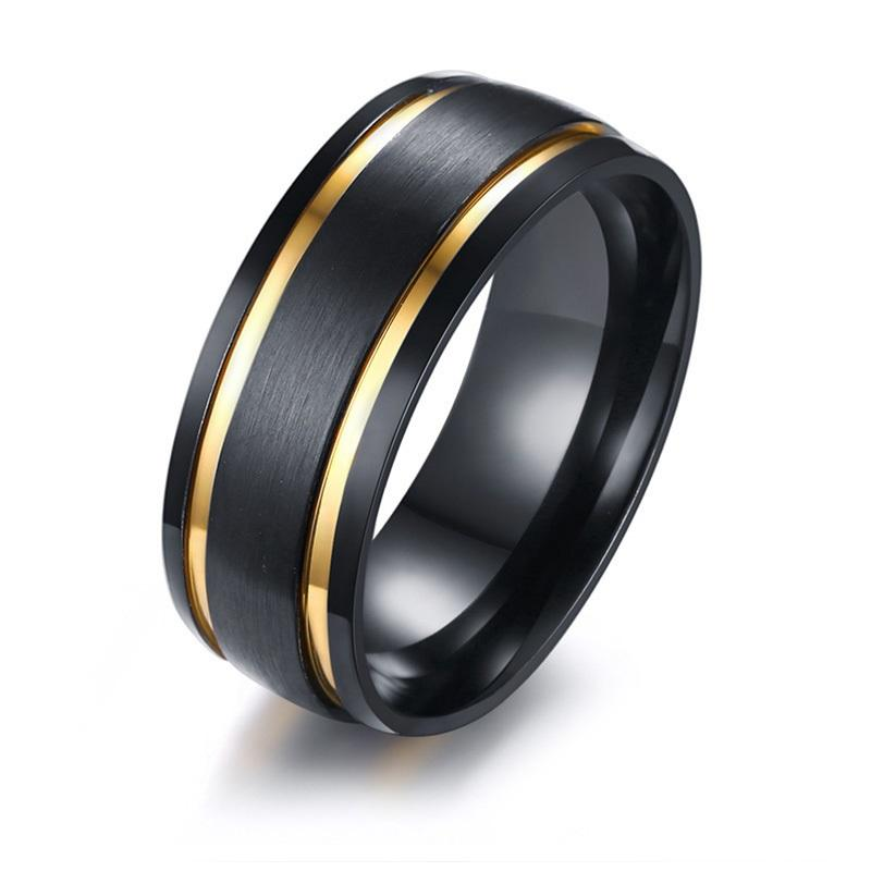 8mm Menamp39s Brushed Black Wedding Bands Ring Stylish Gold Tone