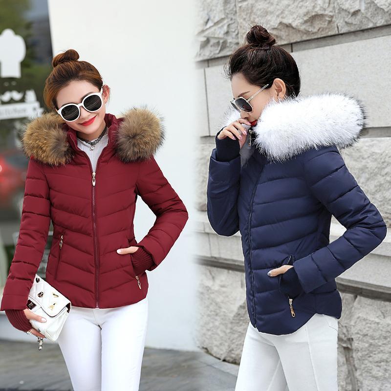Jacke Winter Frauen Parkas Für Mantel Mode Weibliche Daunenjacke Mit Kapuze Große Kunstpelzkragen Mantel 2019 Herbst Outwear Damen