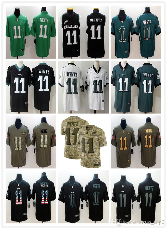 check out 18f35 801ca 2019 Mens 11 Carson Wentz Philadelphia Eagles Football Jersey 100% Stitched  Embroidery Eagles Carson Wentz #11 Color Rush Football Shirts