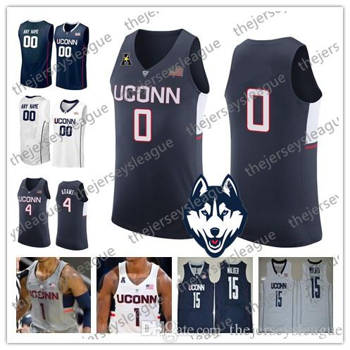 7dbd9ebabaff32 2019 Uconn Huskies Custom Any Name Number Stitched White Navy Blue Gray  4  Jalen Adams 15 Sidney Wilson NCAA College Basketball Jersey From  Thejerseysleague ...