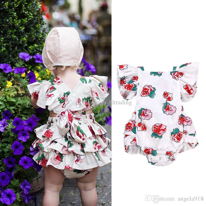f17e3d7d1824 2019 INS Baby Girls Rose Flower Print Romper Infant Flying Sleeve Floral  Jumpsuits 2019 Summer Fashion Boutique Kids Climbing Clothes C5785 From  Angela918