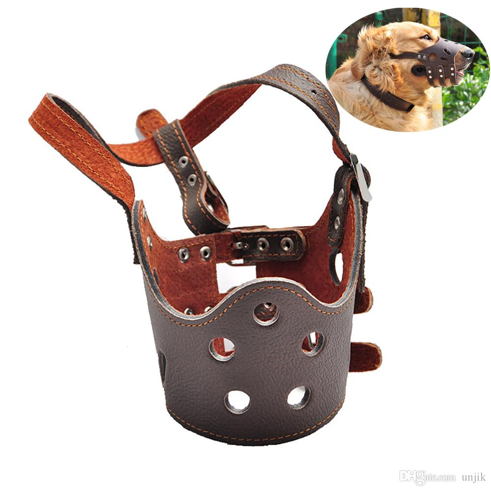 Adjustable Breathable Mask PU Leather Pet Dog Muzzle Anti Bark Bite Chew Safety for Small Large Dogs Pet Mask XS- XL