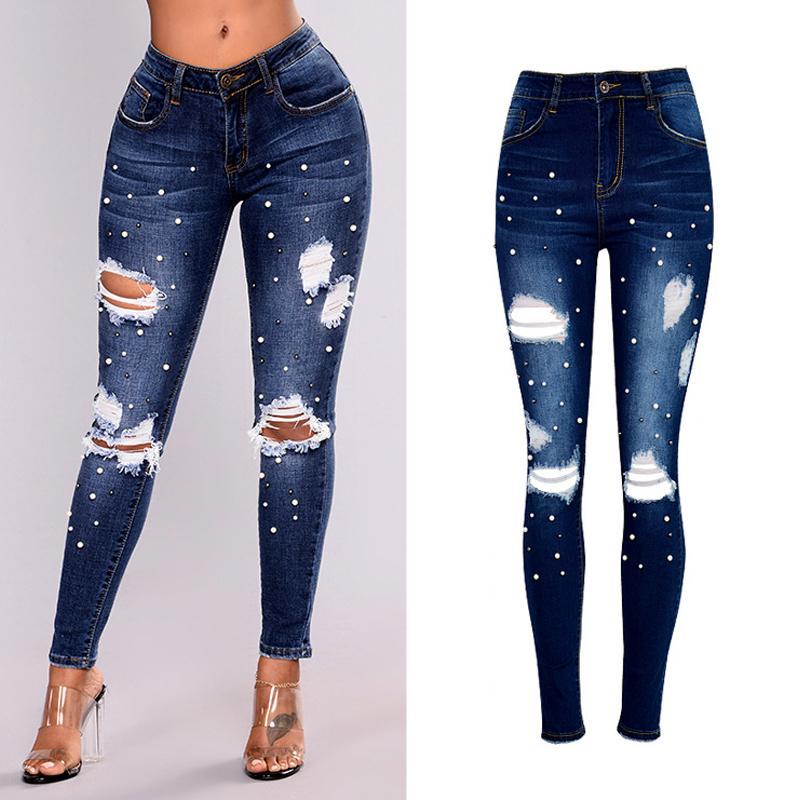 b27898f028 Compre 2018 Jeans Mujer Perla Rebordear Pantalones Vaqueros Rasgados Para Las  Mujeres Del Estiramiento De Cintura Alta Más El Tamaño 3XL Mujer Mujer ...