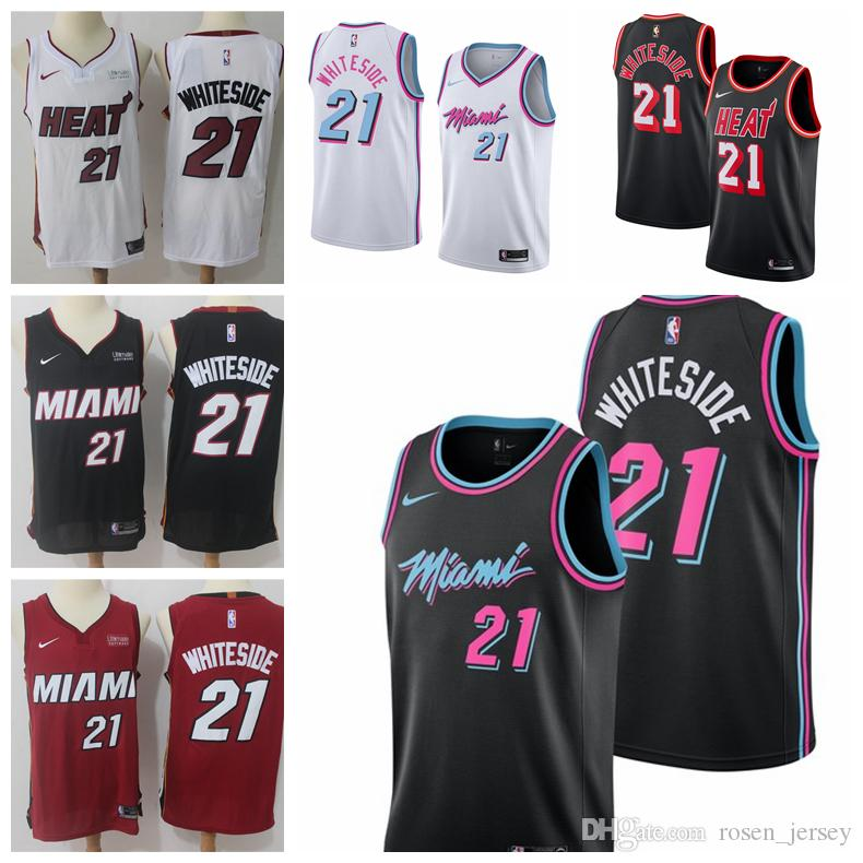 purchase cheap 59b40 bc30e 2019 Mens Miami Heat 21 Hassan Whiteside Basketball Jerseys New The City  Edition White Black Hassan Whiteside Jerseys Stitched Mesh Dense AU