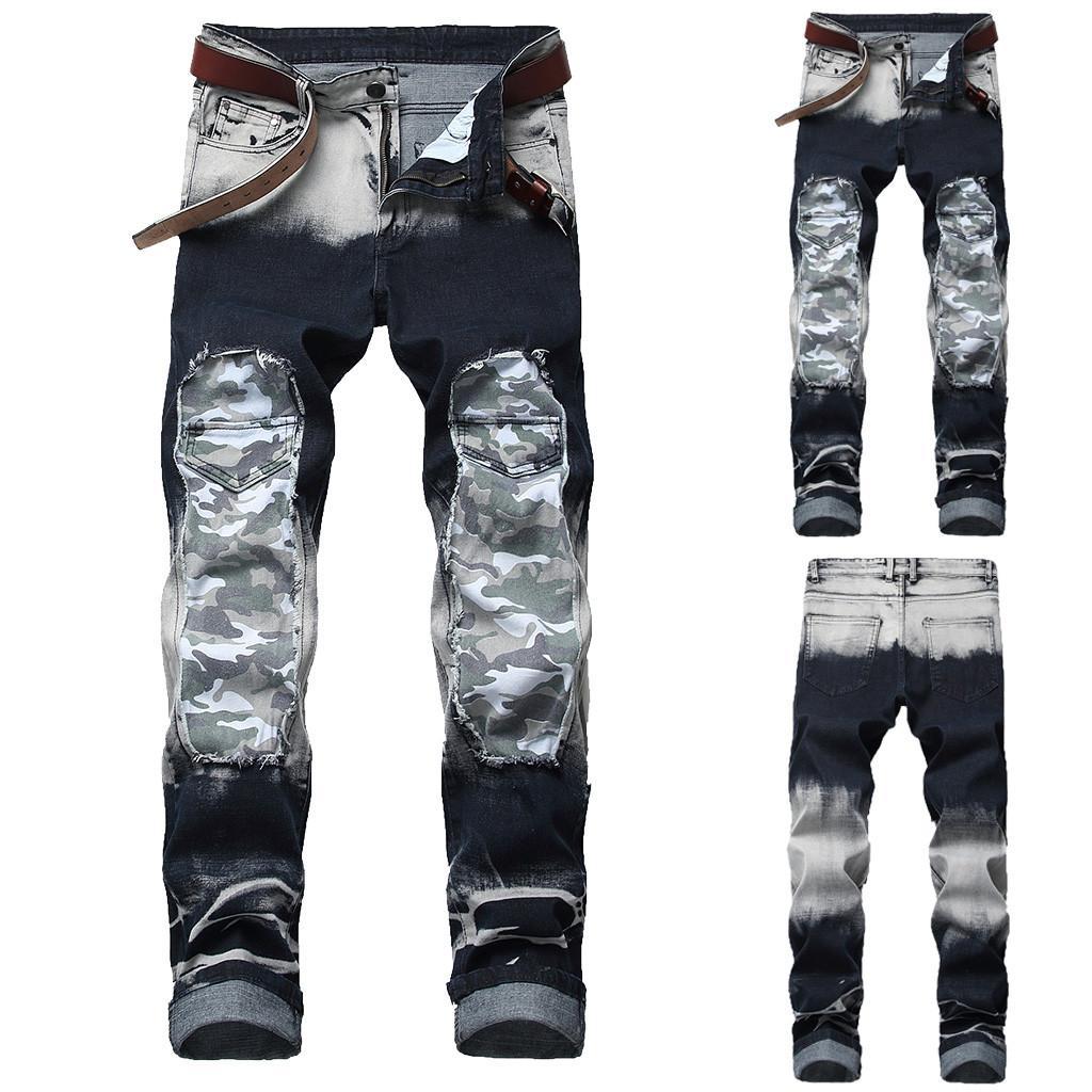 5f055b92a6 Compre Pantalones Vaqueros Pitillo Desgastados Elásticos Rotos Camuflaje  Con Cinta Slim Fit Pantalones De Mezclilla Cono Fitness Pantalones De Lápiz  De ...