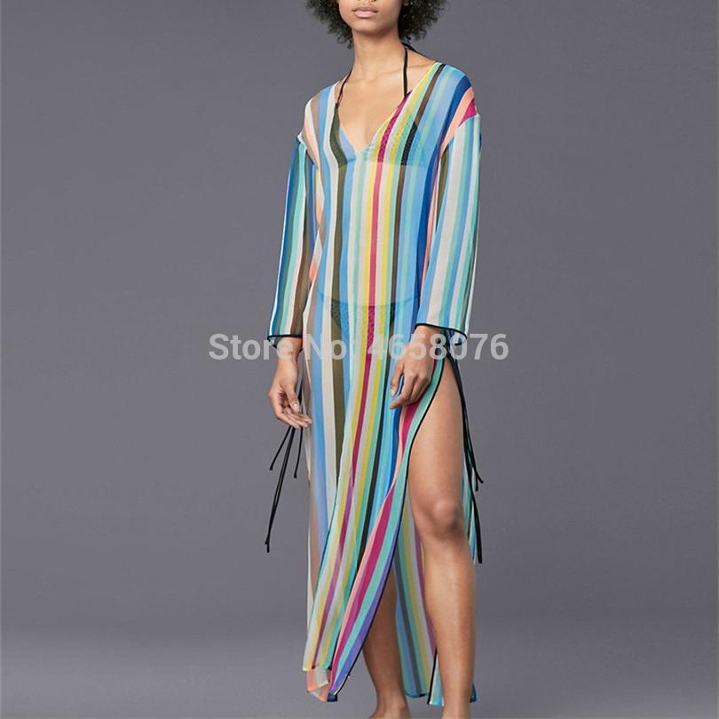 cb51851e94 ful Striped Swimsuit Cover Up Beach Tunic Sarong Robe De Plage Beachwear  Kaftans Long Beach Dress Womens Swim Wear From Winterleng, $25.56 |  DHgate.Com