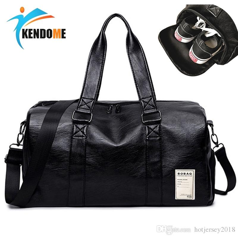 cd24bc51b7 2019 Hot PU Leather Sports Gym Bag For Women Yoga Fitness Bag Outdoor Men S Training  Shoulder Bags With Shoes Pocket Travel Handbag  214545 From ...