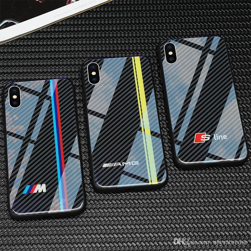 Coques Téléphone Portable Coque En Verre Trempé Fibre De Carbone AMG M Pour  IPhone XS Max XR XS X 8 8 Plus 7 7 Plus 6 6 S 6 Plus Coques Mobile Proposé  Par ... affe6f4f20c