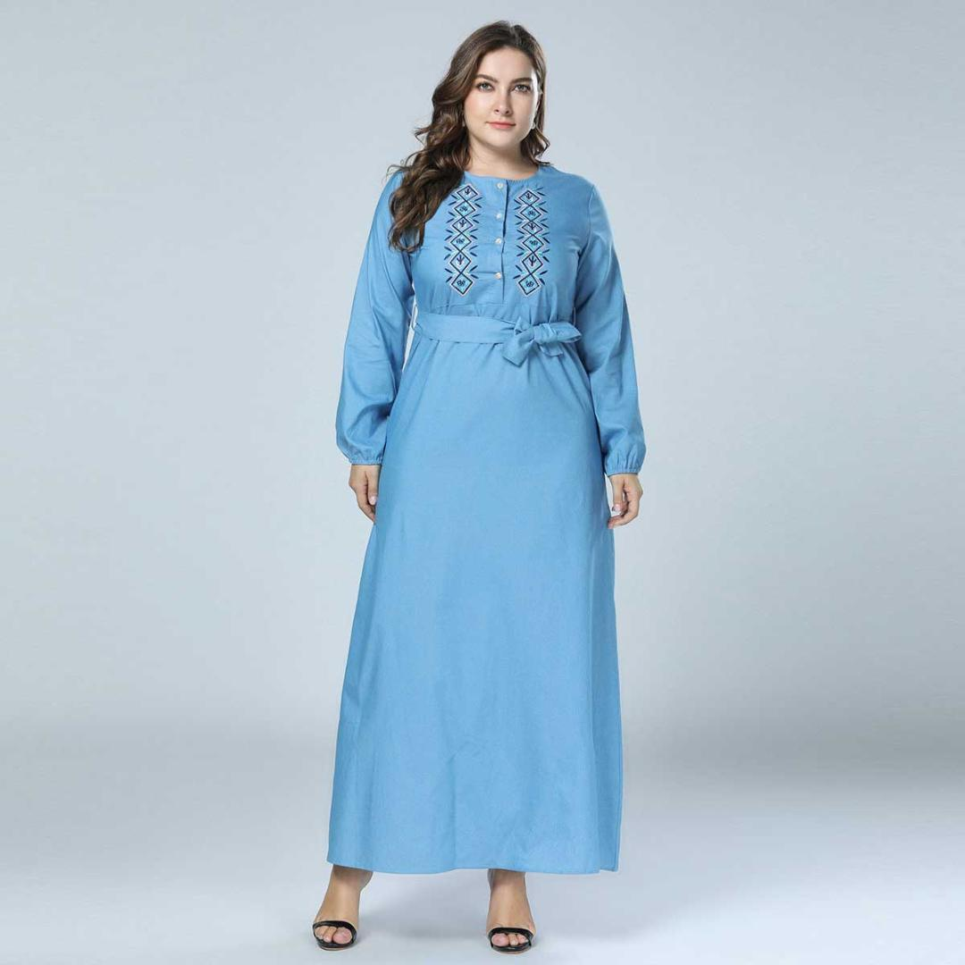 aedb4079a6c 2019 AUTUMN Women Floral Embroidery Denim Maxi Dress With Sash Ethnic  Oversized Muslim Robe Long Sleeve Plus Size VKDR1416 Evening Cocktail Dress  Dresses ...