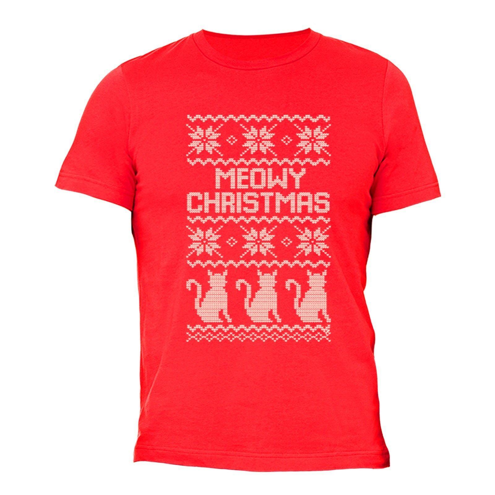 Meowy Christmas Sweater.Mens Meowy Christmas Cat Kitten Animal Ugly Christmas Sweater Santa T Shirt Red Jersey Print T Shirt Brand Shirts Jeans Print
