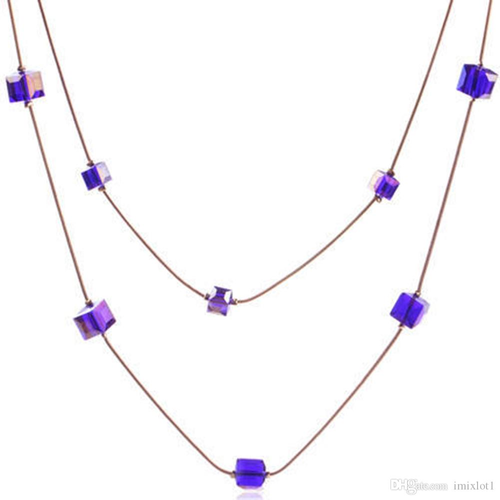 Purple Korea Wild Square Candy Multilayer Decorative Sweater Chain Girl Jewelry Necklace Accessories Pop Style 3 Colors