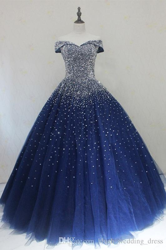 Navy Blue Quinceanera Dresses Ball Gowns Princess Puffy Dark Royal