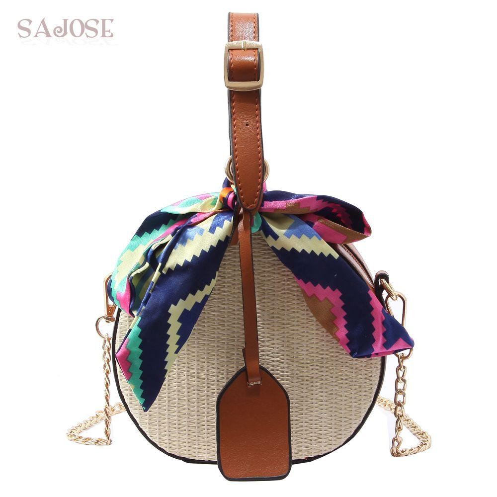 Women Straw Bag Crossbody Bags For Girls Fashion Scarves Round ... bf7ab81412fee