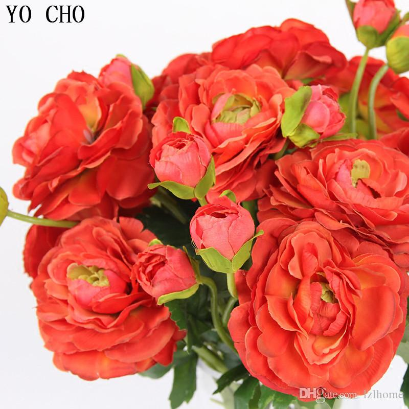 Fake Flowers 2 Heads Artificial Flowers White Peonies Silk Flowers Red Rose Artificial Flower Bouquet Wedding Decor Home
