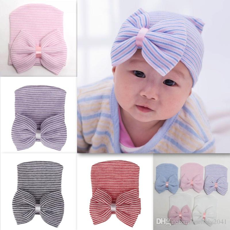 fbce1f6e2 2018 New Baby Knitted Warm Beanie With Bowtie Cute Soft Small Baby Caps For  0-3 Month Headwear 8 Colors