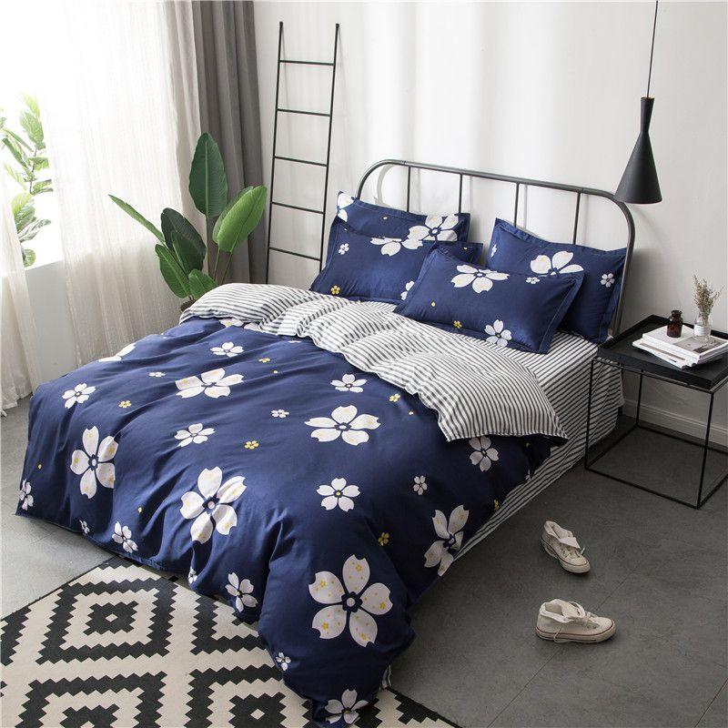 White Cherry Blossom Flowers Bedding Sets Girls Kids Teens Navy Blue Duvet Covers Pillowcases Stripe Bed Sheets Floral Bed Linen