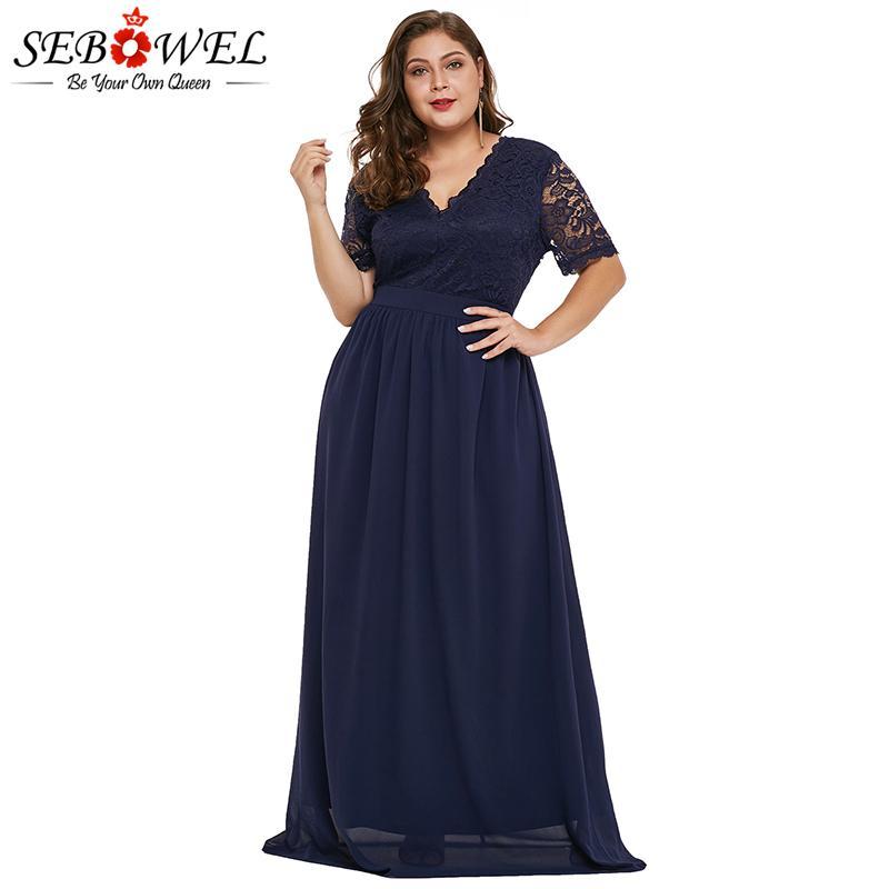 bf9c33274 SEBOWEL Azul Tallas grandes Vestido de Fiesta de Encaje de Gasa Mujeres  Elegante de Manga Corta Maxi Vestido de noche 2019 Vestido Formal Largo ...
