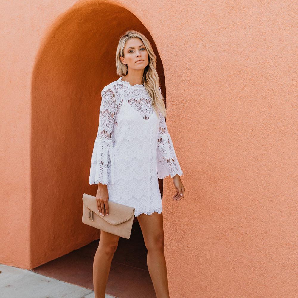 großer Rabatt Preis bleibt stabil große Vielfalt Stile Weißes Kleid Spitzenkleid Mantel Dreiviertel Flare Ärmel Print O-Neck Kleid  Elegant Vestidos Mujer