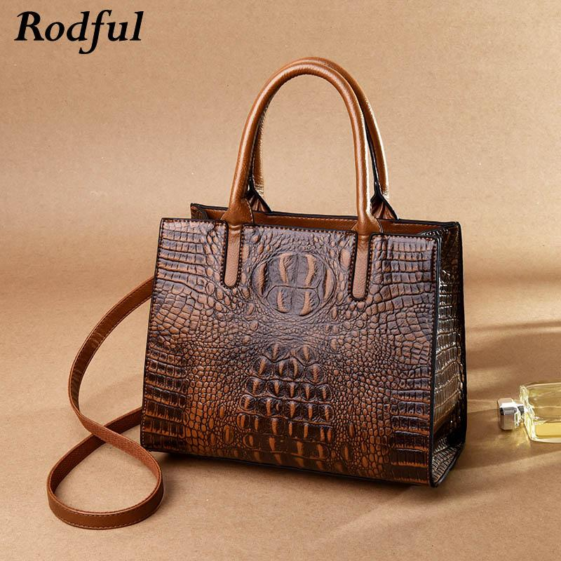 a881ee5095b7 Rodful Luxury Crocodile Handbags Women s Genuine Leather Hand Bags ...