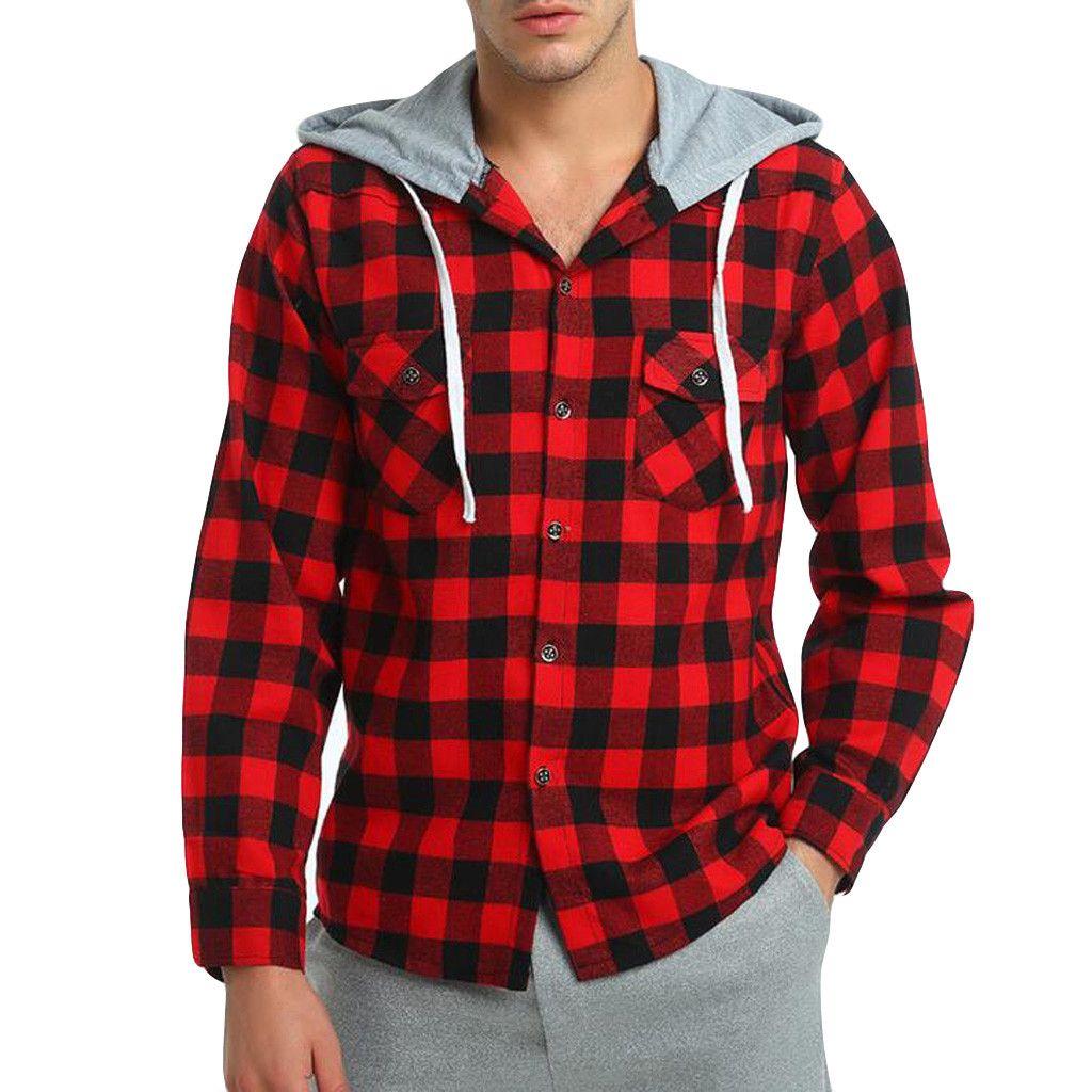 18afdf8e0f444 Compre Camisa De Hombre 2019 Nueva Ropa Para Hombre Moda Chaqueta A Cuadros  Sombrero De Manga Larga De Los Hombres Moda Slim Fit Blusa Masculina Tallas  ...