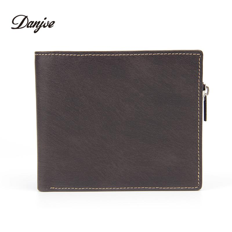 8269d15204fa DANJUE Genuine Leather Men Wallets Short Male Purse With Coin Pocket Card  Holder Brand Trifold Wallet Men Clutch Money Bag Italian Leather Wallets  Cheap ...