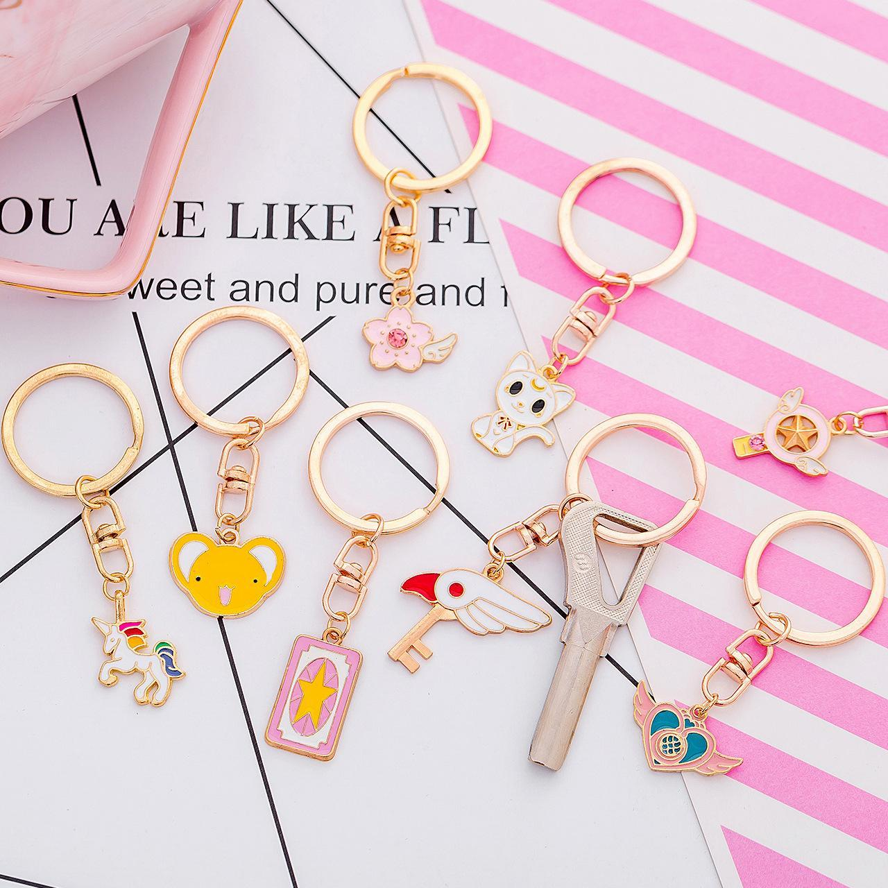Key female south Korean creative cute cartoon young girl heart key ring ring lovely simple key chain jewelry