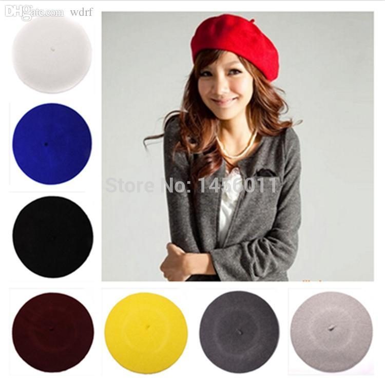 Wholesale-2015 Womens Autumn and Winter Warm Soft Wool Classic Colourful Berets French Artist Beanies Baggy Hats Ski Caps J424
