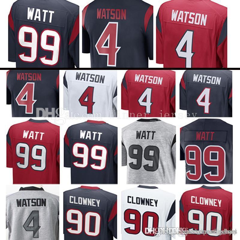 cheap for discount e5f29 a1dec 4 Deshaun Watson 99 J.J. Watt Jersey 90 Jadeveon Clowney Jerseys Men's  Embroidery and 100% Stitched new