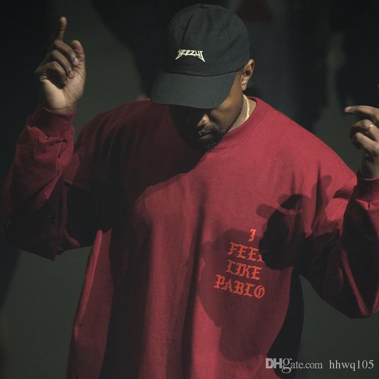 ce5f1da5b1a I Feel Like Pablo Tee Men S Long Sleeve Red 100% Cotton T Shirt Kanye West  Men Women Skateboard Shirt Hip Hop Clubwear YYG1011 Best Sites For T Shirts  Tee ...