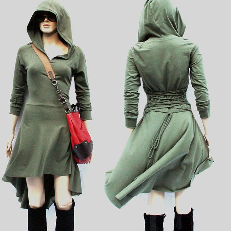 Women Fashion Medieval Renaissance Hooded Dress Long