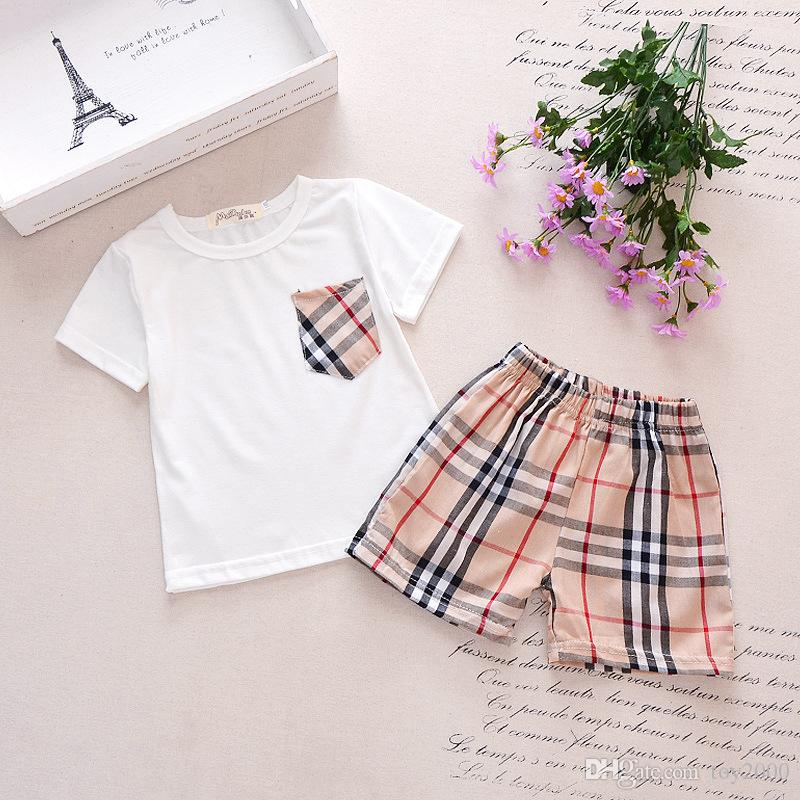 kids designer clothes boys and girls leisure sports suit pocket T-shirt + PLAID SHORTS CHILDREN summer suit summer wear