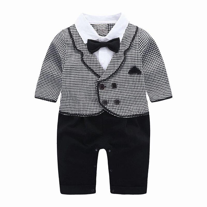 3430d832f1e9 2019 2019 Spring Boy Suits Formal For Newborns Clothing One Pieces Suit Fashion  Baby Jumpsuit 0 24Months Children Clothing Grey Plaid From Cynthia07